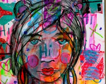 Hi Mixed Media Girl Giclee Art Print Original Art Print 8x10