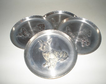 Scottie-Westie Dog Aluminum Coasters Repoussé Mid Century Aluminum Stacking Set of 4