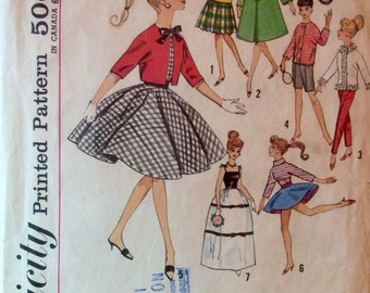 """Vintage 1960's Sewing Pattern FASHION DOLL Clothes 11-1/2"""" Barbie Dresses Evening Wear Sportswear Pants Shorts Tops Coat"""