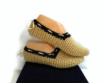Beige Crochet Slippers With Adjustable Ribbon Tie, Handmade Knitted Slippers, Socks, House Shoes, Gift for Women, Black and Tan Slippers