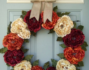 Fall Wreath - XL Fall/Autumn Wreath - Fall Door Wreath - Fall Door Decor Wreath