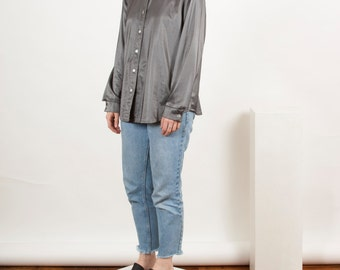 Silky Metallic Blouse / Silver Button Up / Holiday Long Sleeve Shirt