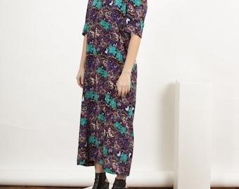 Multicolor Short Sleeve Dress / Floral Short Sleeve Dress / Summer Bold Dress