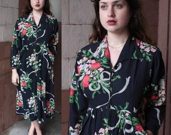 Vintage 1940's Robe // 40s Floral Ribbon Bouquet Print Dressing Gown // Novelty Print Black Dress // Divine