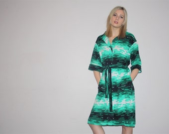 Vintage 1960s Green Graphic Ombre Abstract Camo Pattern Dress Dress   -  60s  Dress  -  1960s Shirt Dresses  - W00237
