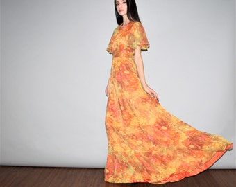 Vintage Sheer Sleeve Orange Floral Boho Hippie Festival Maxi Halter Dress -  1960s Maxi Dress - 60s Maxi Dresses - W00260