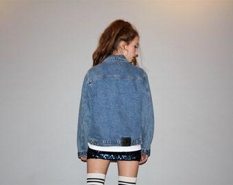 Oversize Vintage 90s Preppy Ralph Lauren Polo Women's Hip Hop Denim Jean Jacket -  Vintage Jean Jacket  -  Vintage  Denim Jacket  - W000275