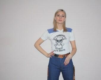 1970s Rare Vintage Ringer Sturgis Motorcycle Muscle T Shirt - Vintage  50/50 cotton poly Biker T Shirt - Paper Thin 70s Shirt - W00417
