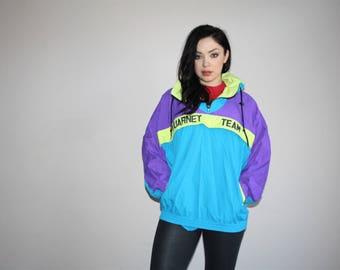 1980s Vintage Vuarnet Sportswear Neon Colorblock Windbreaker Jacket - 80s Vuarnet - 80s Clothing - WV0042