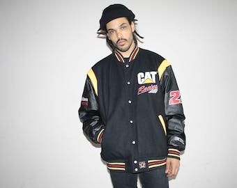 CAT Logo Vintage 1990s NASCAR Racing Varsity Leather Sleeves Car  Bomber Jacket - 90s Clothing - MV0164