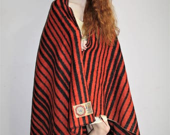 Dutch 1930s Orange Vintage Van Wyk of Holland Black Stripe King Size Trapper Blanket  - 78 inches by 152 inches - VVH0005