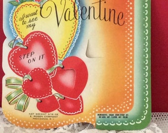 Vintage 1940s 1950s Valentine Candy Card By E. Rosen Company Collectible Paper Ephemera Art Craft Scrapbooking