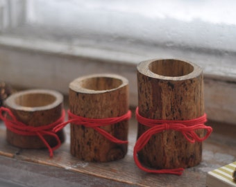candle  holders •  natural candle holders • set of 3