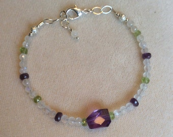 Moonstone, peridot and amethyst bracelet