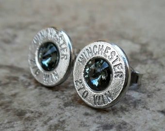 Winchester 270 Win Nickel Bullet Earring, Black Diamond Swarovski Crystal, Surgical Steel, Sterling Silver Posts - 903