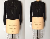 1940s black cardigan | sequined crop diamonds cardi