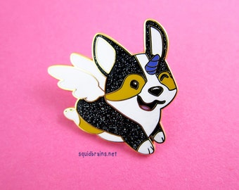 Luna the Unicorgi™ enamel pin of a corgi unicorn with a purple horn