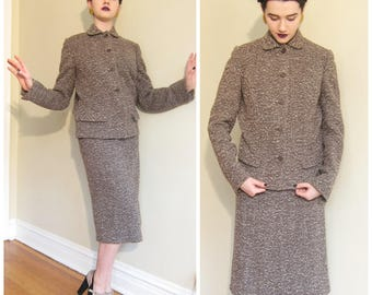 Vintage 1960s Brown Wool Tweed Skirt Suit / 60s Blazer and Skirt Ensemble by Over Five Seven Shop / Medium