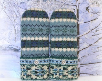 Teal Blue, White & Green Fair Isle 100% Wool Nordic Recycled Sweater Mittens