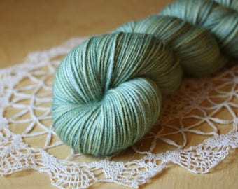 Hand Dyed Sport Weight Yarn / Superwash Merino Wool / Pale Green Blue Sea Green Mint Kaelpie Sportweight