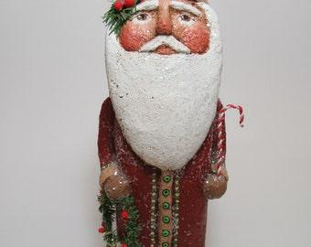 Paper Mache Santa - Folk Art Santa - Primitive Santa - Santa Sculpture - Santa