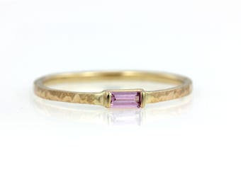 Petite Baguette Rectangle Pink Sapphire Textured Stacker Minimalist Ring - 14k Palladium White Yellow Rose Gold - Wedding Engagement Promise