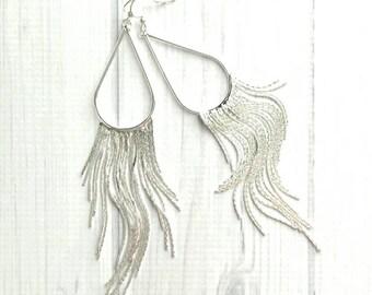 Silver Fringe Earrings - long flowing line flexible snake chain strand dangle v shape - sterling silver tassel sexy modern chandelier 6 inch