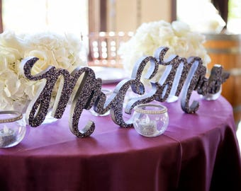 Mr and Mrs Wedding Sign for Wedding Table Centerpiece Decor, Mr and Mrs Letters, Standing Mr & Mrs Sweetheart Sign Set (Item - TMK200)