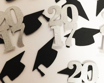 100 Pieces of 2017 Graduation Hand Punched Confetti - Perfect for Graduation Parties available in your choice of colors