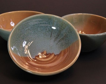 Set of Three Prep Bowls in Robin's Egg Blue and Tan for a Kitchen Housewarming
