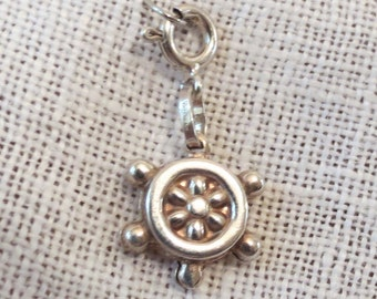 Ship's Wheel Helm Puffy Sterling Silver Charm with Clasp