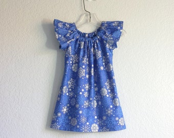 New! Royal Blue and Silver Christmas Dress - Royal Blue and Metallic Silver - Flutter Sleeve Dress - Size 12m, 18m 2T, 3T, 4T, 5, 6 or 8