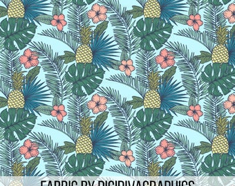 Tropical Garden Fabric by the Yard - Blue Hawaiian Pineapple Palm Leaf Fronds Summer Print in Yard & F at Quarter