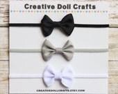 Ribbon Bow Headbands For Dolls, 15 Inch Doll Bows, Black Gray White Bows, 14.5 Inch Doll Bow Headbands, 18 Inch Doll