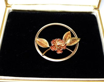 Goldfilled Flower Brooch Signed Krementz and in Original Box - Two Tone Gold - Yellow Gold Leaves - Rose Gold Flower - 1950 Roses and Leaves