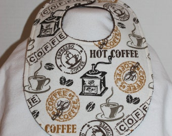 Hot Coffee Flannel / Terry Cloth Bib