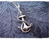 Silver Rope and Anchor Necklace - Sterling Silver Rope and Anchor Charm on a Delicate Sterling Silver Cable Chain or Charm Only