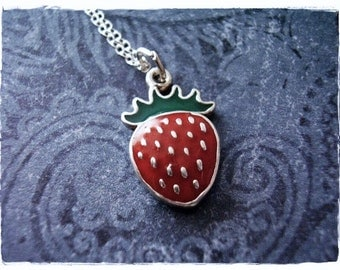 Red Strawberry Necklace - Red Enameled Sterling Silver Strawberry Charm on a Delicate Sterling Silver Cable Chain or Charm Only