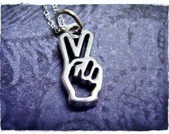Peace Sign Hand Necklace - Sterling Silver Peace Sign Hand Charm on a Delicate Sterling Silver Cable Chain or Charm Only