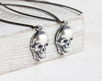 Antiqued Silver Plated Small Skull Dangle Earrings on Long Gunmetal Marquis Wires, Halloween Jewelry