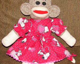 Valentine Sock Monkey, Red Heel Sock Monkey, Sock Monkey, Valentine's Day Gift
