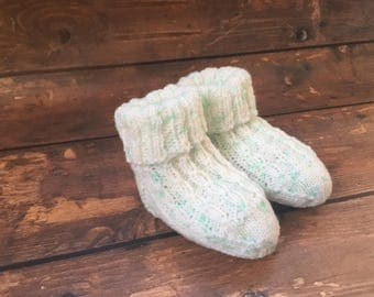 Neutral Knit Baby Booties - Knitted Baby Socks - Hand Knit Baby Booties - Knit Socks for Babies - Stay On Socks Booties - Gifts for Babies