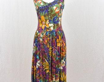 Vintage Tropical Maxi Dress, 90's Clothing, Tumblr Clothing, Lace Up Back, Resort Dress, Sleeveless Dress, Colorful Clothing