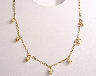 Avon Caged White Pearl Bead Hearts Necklace Choker Gold Tone Vintage Figaro Style Link Chain Dangle Pendants Hangtag Spring Clasp Closure