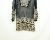Vintage Sheer mesh and lace tunic top in black and cream embroidered peasant top size medium to large
