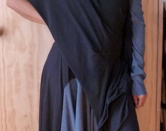 Black elegant overlay dress top with attach sleeve