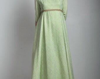 SALE vintage 70s evening gown maxi dress metallic damask floral scroll light green gold trim rhinestones MEDIUM M