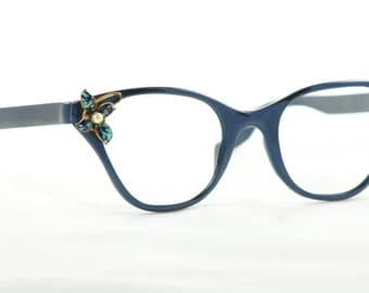 Rare Tura 'Tiger Lily' Cat Eye Glasses, NOS, Navy Blue
