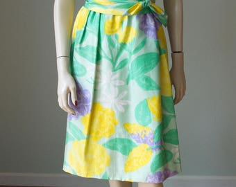 Pretty 1960s Silk Crepe Floral Scarf Print Sheath Dress with Wrap Obi Sash Belt / Gorgeous Colors and Watercolor Style Print / Small