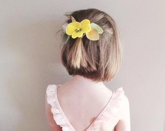 Easter Headband, Felt Flower Headband, Easter Hair Bow, Children Photo Prop, Yellow Pansy, giddyupandgrow